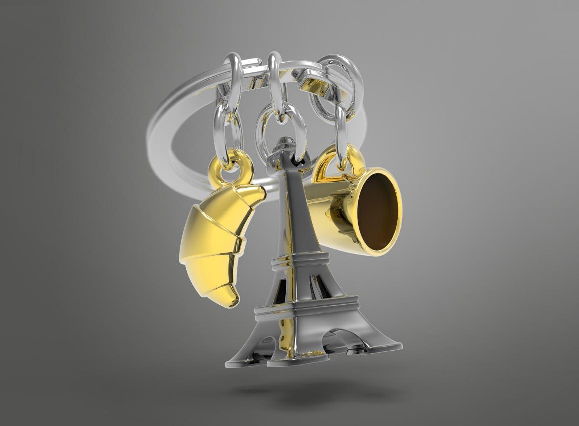 keyring paris black silver gold metalmorphose mtm197 12