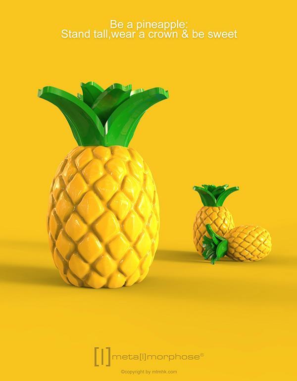 keyring pineapple yellow metalmorphose mtm089 4