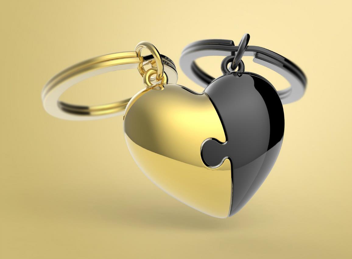 keyring puzzle heart gold black metalmorphose mtm116 10