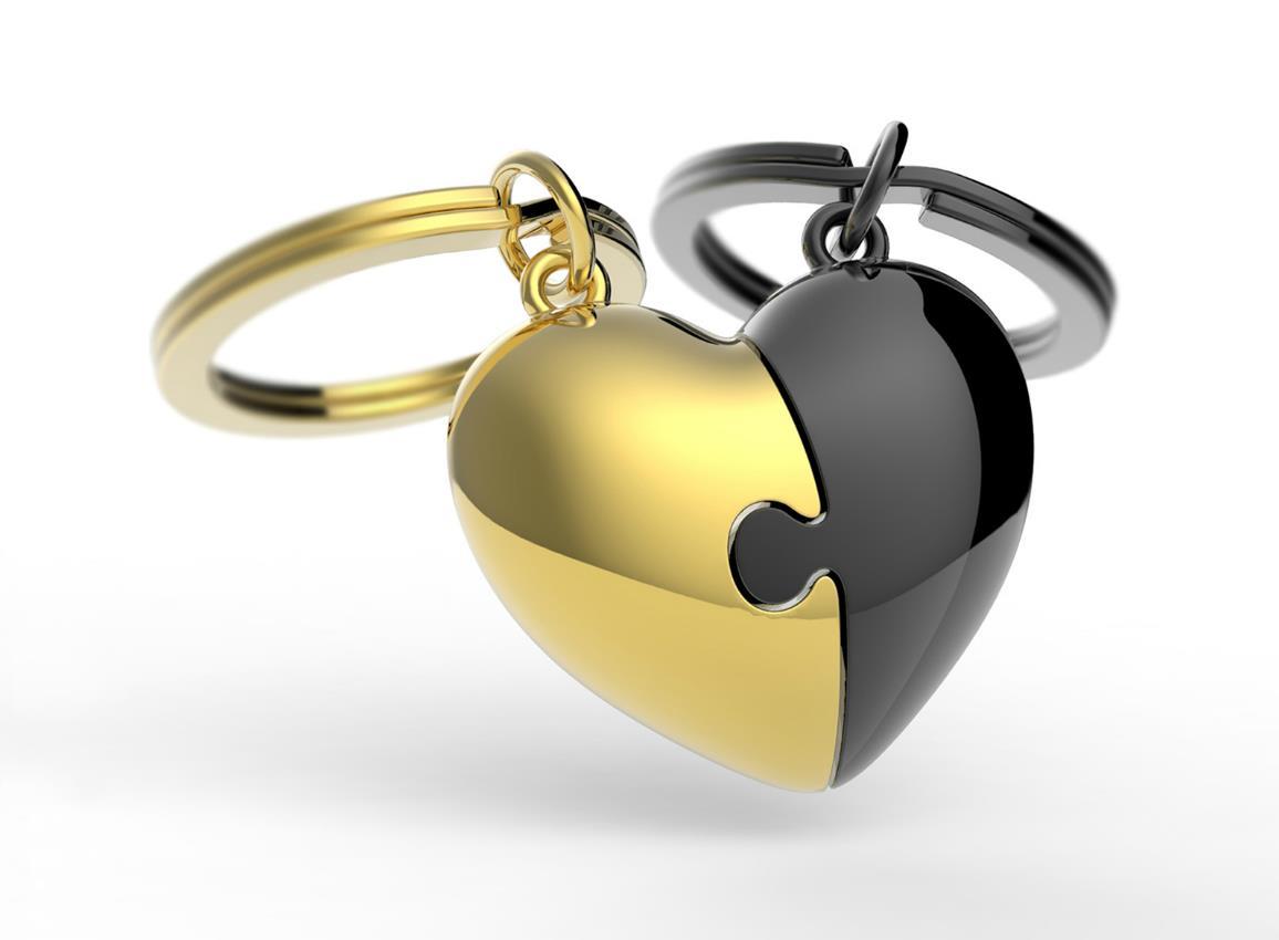 keyring puzzle heart gold black metalmorphose mtm116 6