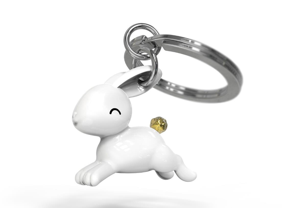 keyring rabbit jumping white metalmorphose mtm233 2