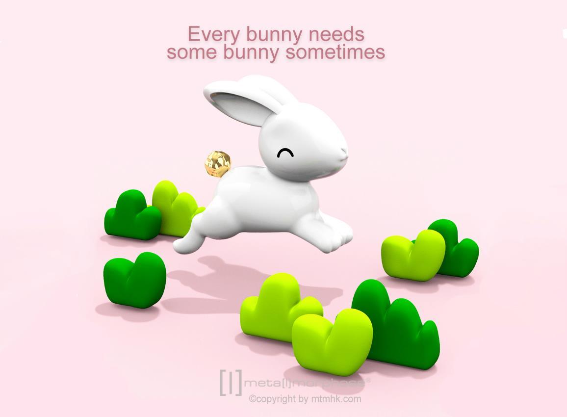 keyring rabbit jumping white metalmorphose mtm233 3