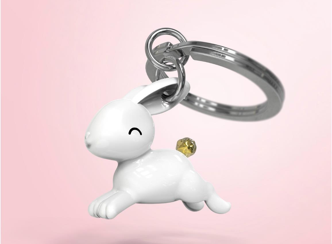 keyring rabbit jumping white metalmorphose mtm233 5