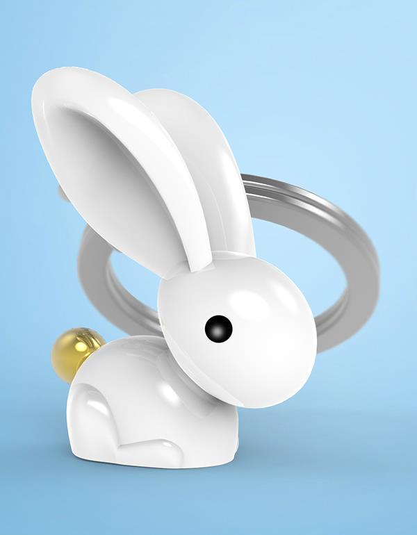 keyring rabbit white metalmorphose mtm068 11