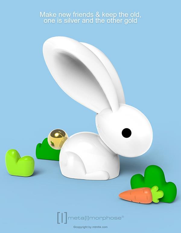 keyring rabbit white metalmorphose mtm068 9