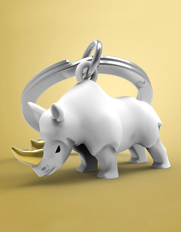 keyring rhino black white metalmorphose mtm271 8