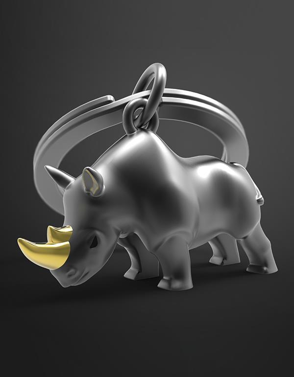 keyring rhino black white metalmorphose mtm271 9