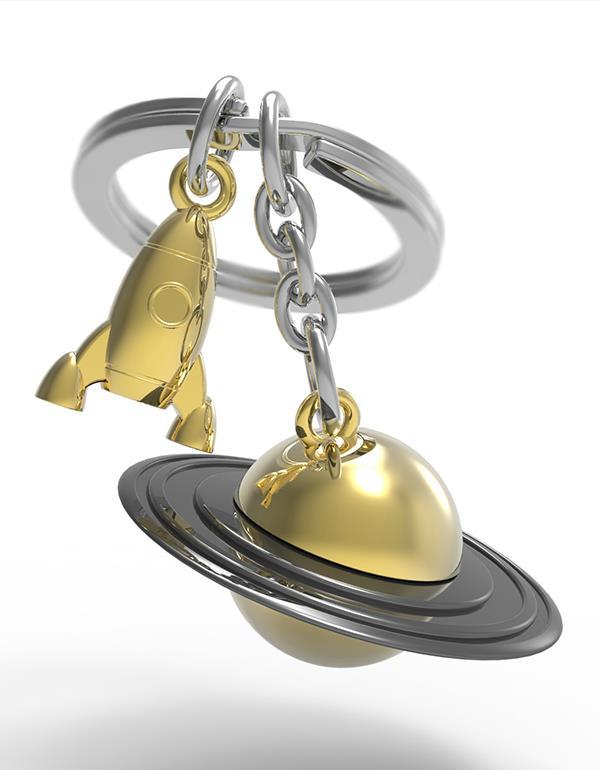 keyring saturn rocket gold rainbow vacuum metalmorphose mtm203 4