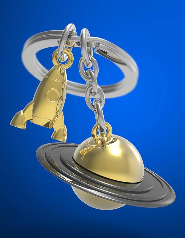 keyring saturn rocket gold rainbow vacuum metalmorphose mtm203 6