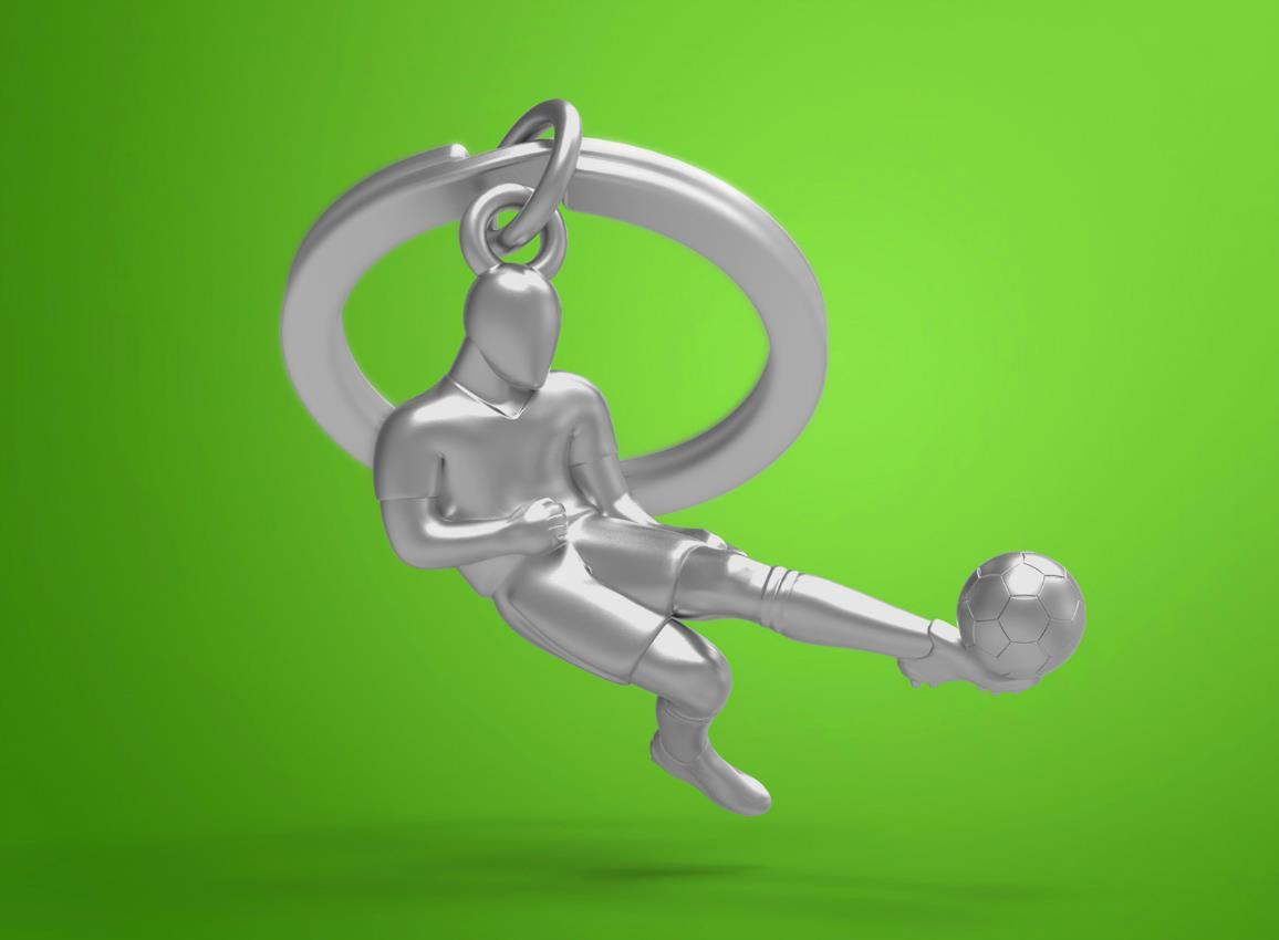 keyring soccer silver metalmorphose mtm281 5