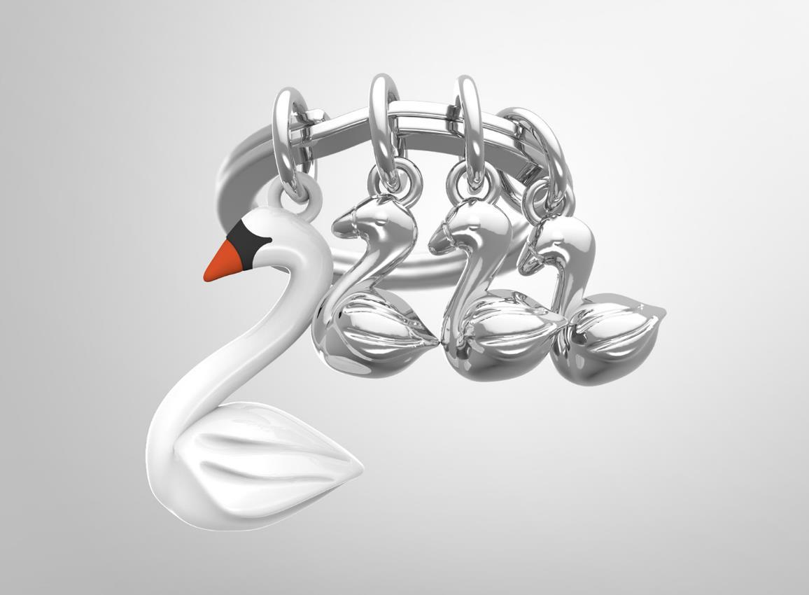 keyring swan white metalmorphose mtm112 5