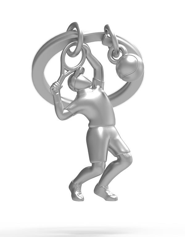 keyring tennis silver metalmorphose mtm283 3