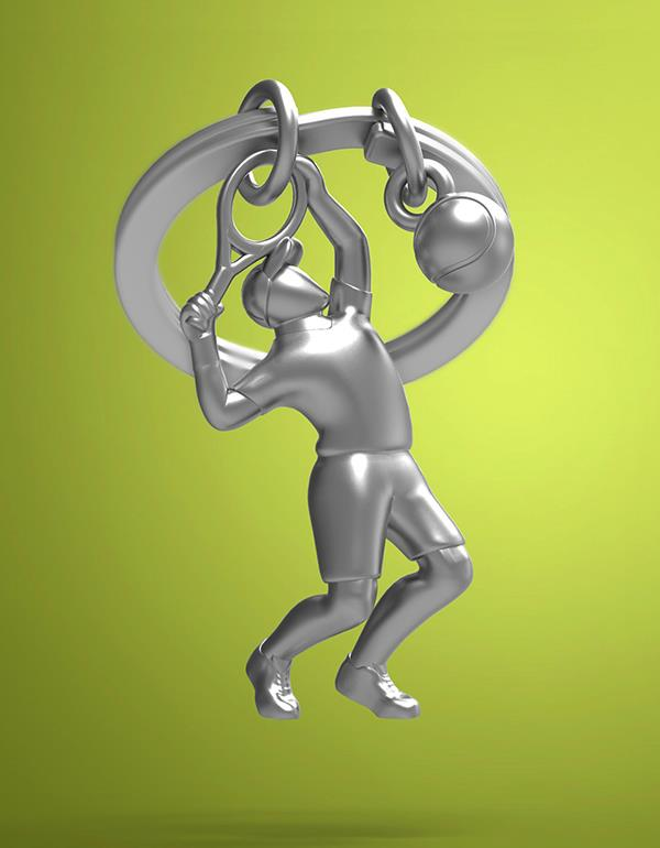 keyring tennis silver metalmorphose mtm283 5