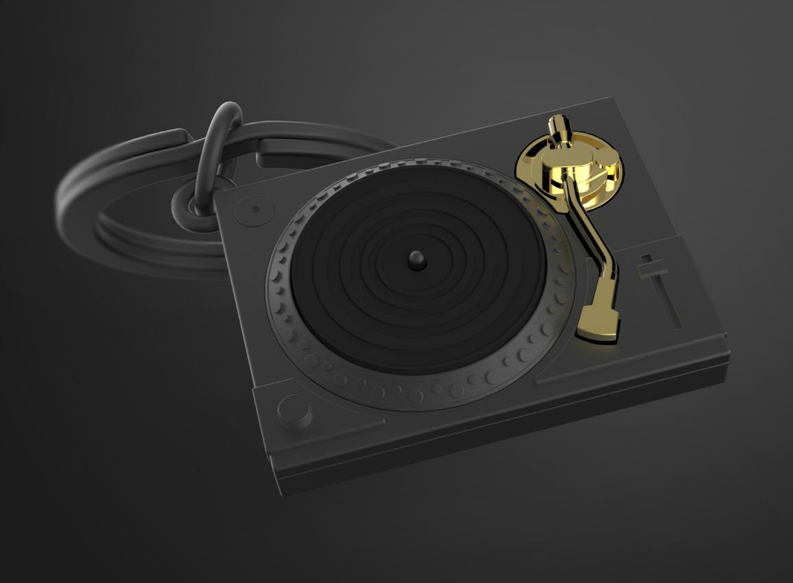 keyring turntable black silver metalmorphose mtm218 6