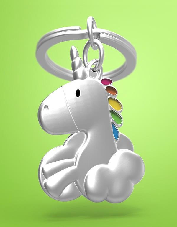 keyring unicorn clouds silver metalmorphose mtm105 8