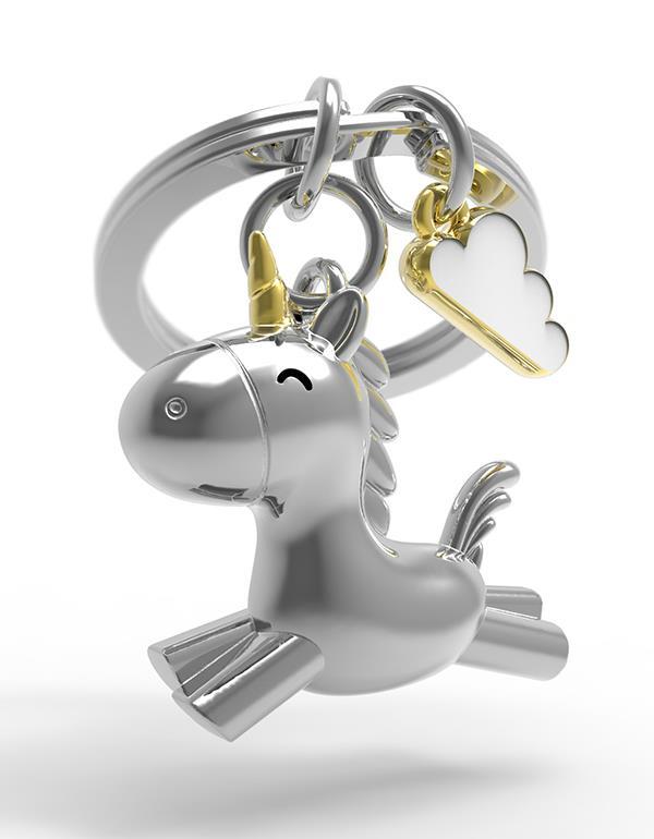 keyring unicorn flying 3D silver metalmorphose mtm119 4