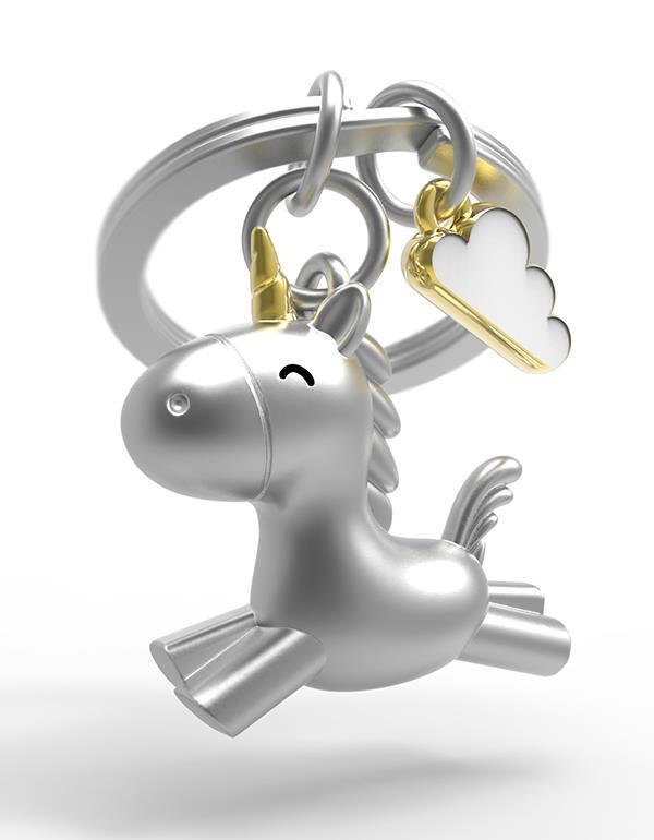keyring unicorn flying 3D silver metalmorphose mtm119 5