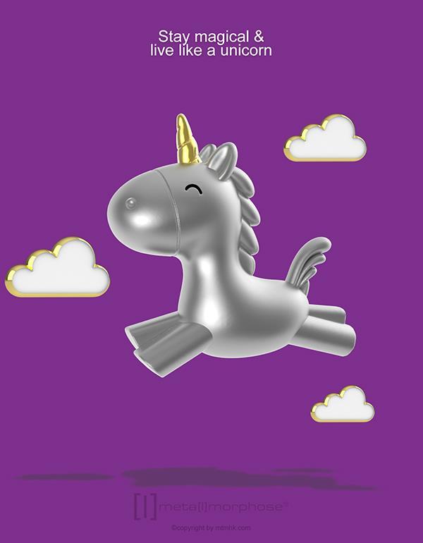 keyring unicorn flying 3D silver metalmorphose mtm119 6