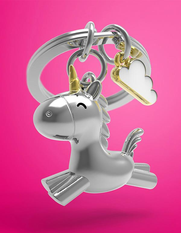 keyring unicorn flying 3D silver metalmorphose mtm119 7