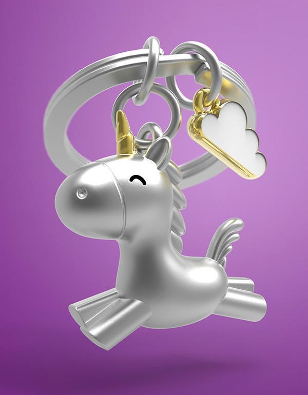 keyring unicorn flying 3D silver metalmorphose mtm119 8