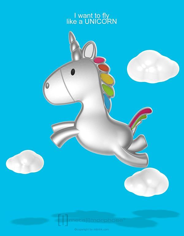 keyring unicorn flying silver metalmorphose mtm115 6