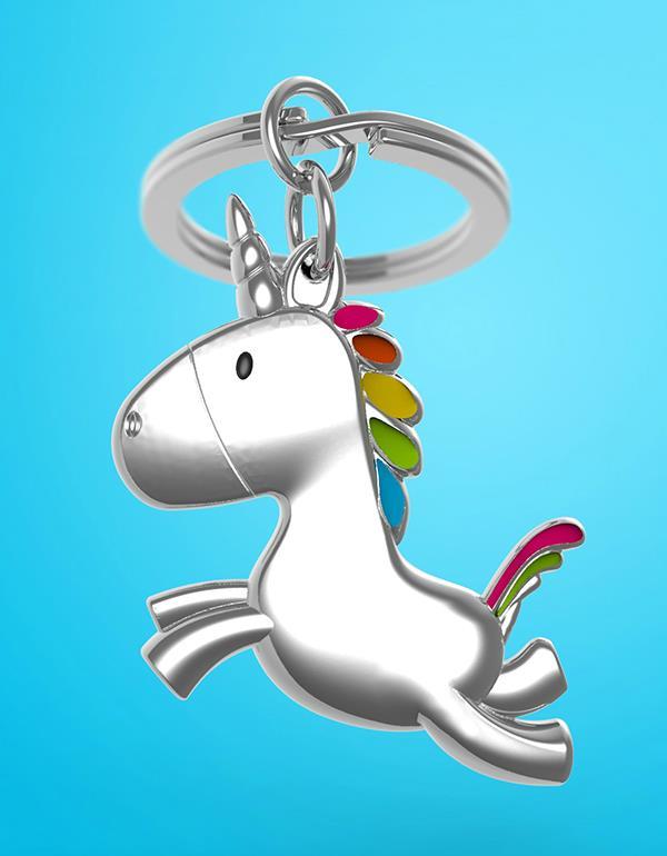 keyring unicorn flying silver metalmorphose mtm115 7